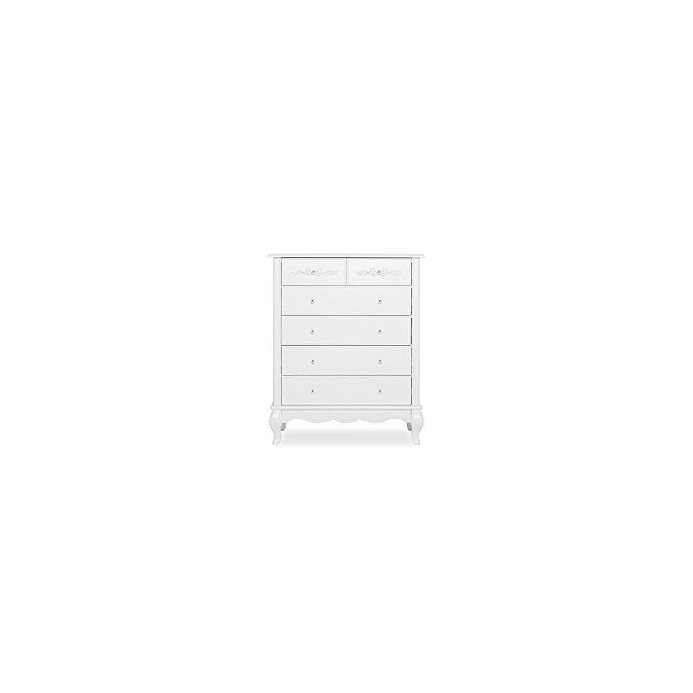Image of Evolur Aurora 6 Drawer Tall Chest - Winter Frost, White