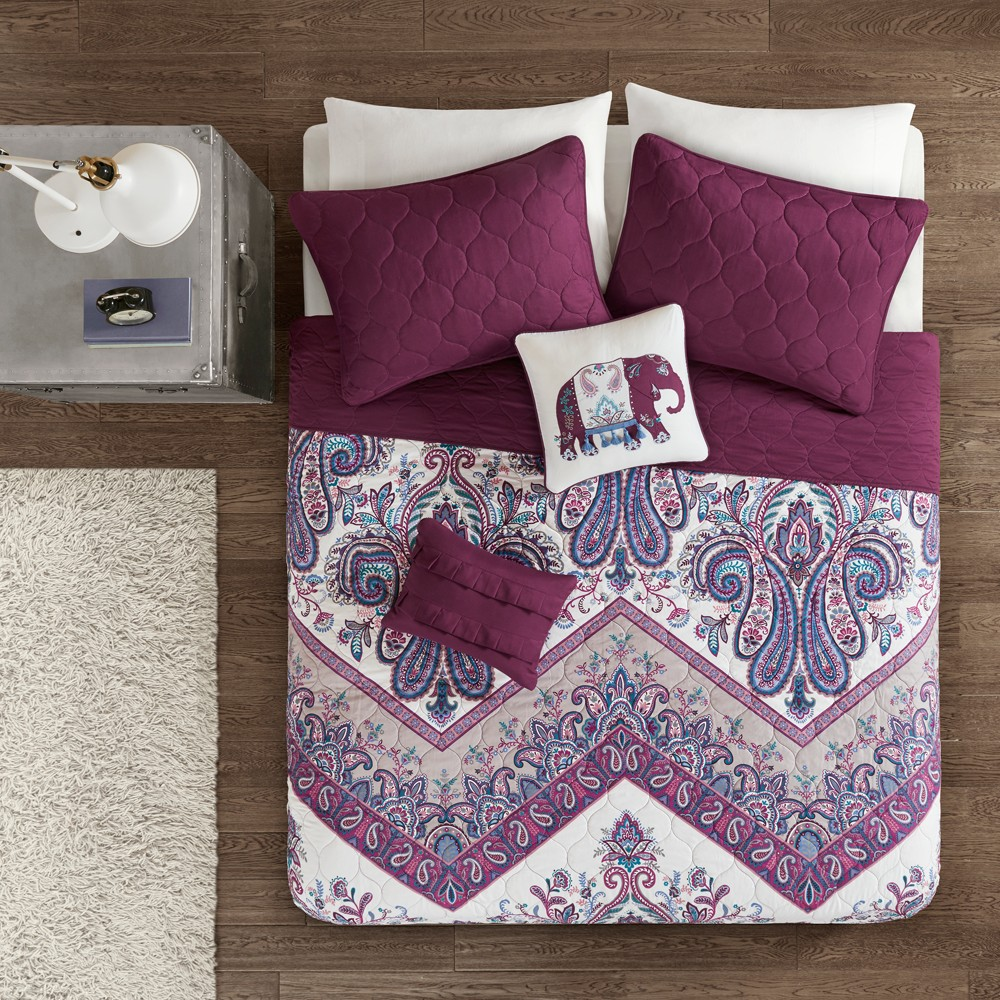 Image of 4pc Twin/Twin XL Allura Printed Coverlet Set Purple