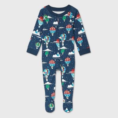 Baby Holiday Hot Air Balloon Print Flannel Matching Family Footed Pajama - Wondershop™ Navy 3-6M