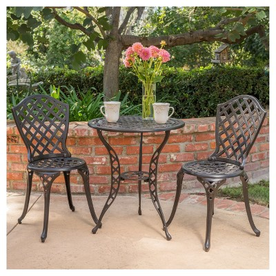 La Sola 3pc Metal Bistro Set - Black/Bronze - Christopher Knight Home