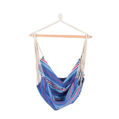 Boho Breeze Swinging Bungalow Hammock Chair - Indigo Stripe -  Blue Wave