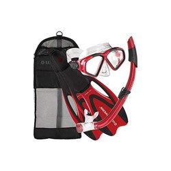 U.S. Divers Cozumel Seabreeze Adult Snorkeling Combo Set with Adjustable Mask, Snorkel, Medium/Large Fins (8 - 9.5), and Travel Bag, Red