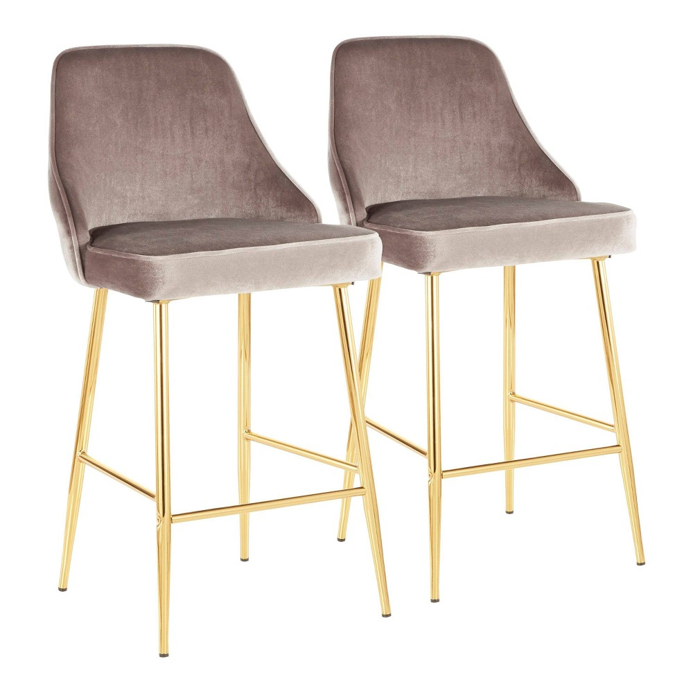 Set of 2 Marcel Contemporary Glam Counter Stool Gold/Silver Velvet - LumiSource