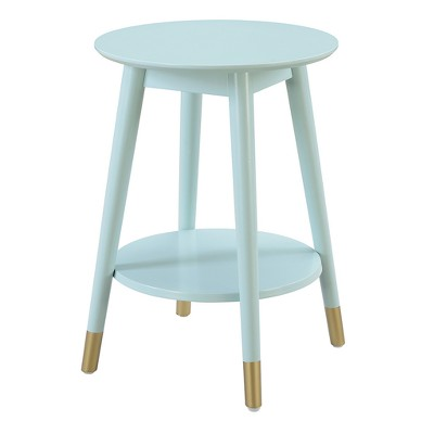 Wilson Mid Century Round End Table with Bottom Shelf - Sea Foam - Johar Furniture