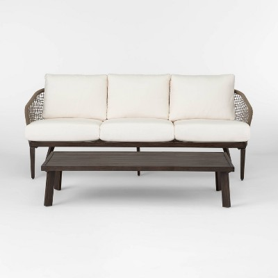 Risley Oversized Rope Patio Sofa and Coffee Table Set - Linen - Project 62™