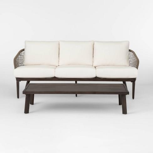 Risley Oversized Rope Patio Sofa And, Patio Sofa Table