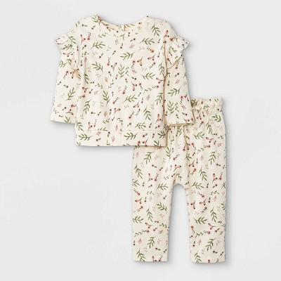 Grayson Mini Baby Girls' French Terry Sweatshirt & Floral Bottom Set - White