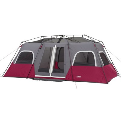 CORE Equipment Family Sized 12 Person 18 x 10 Feet Double Door Instant Cabin Tent with Room Dividers and Storage Pockets, Wine