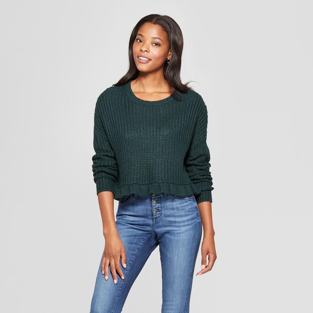 Women's Long Sleeve Ruffle Hem Crop Sweater - Love @ First Sight (Juniors') Green L
