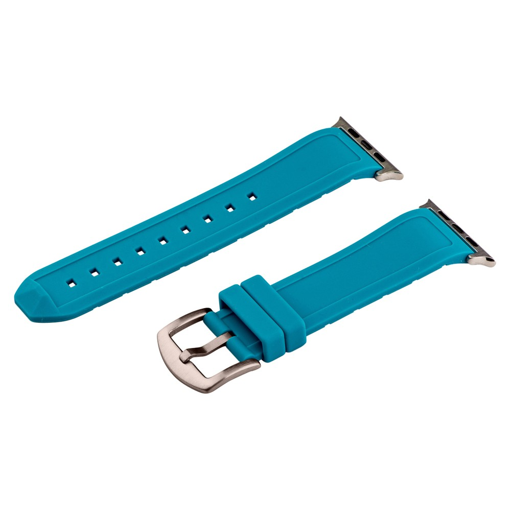 Clockwork Synergy Divers Silicone Apple Watch Band 42mm with Steel Adapter - Turquoise, Adult Unisex, Blue Customize the look of your watch with the Divers Silicone Apple Watch Band from Clockwork Synergy. Crafted from high-quality silicone, this turquoise watchband ensures soft, comfortable wear and long-lasting durability. Whether you make this your go-to band for everyday wear, or you switch it out depending on your outfit, you'll love sporting a unique accessory that complements your personality. Color: Blue. Gender: Unisex. Age Group: Adult.