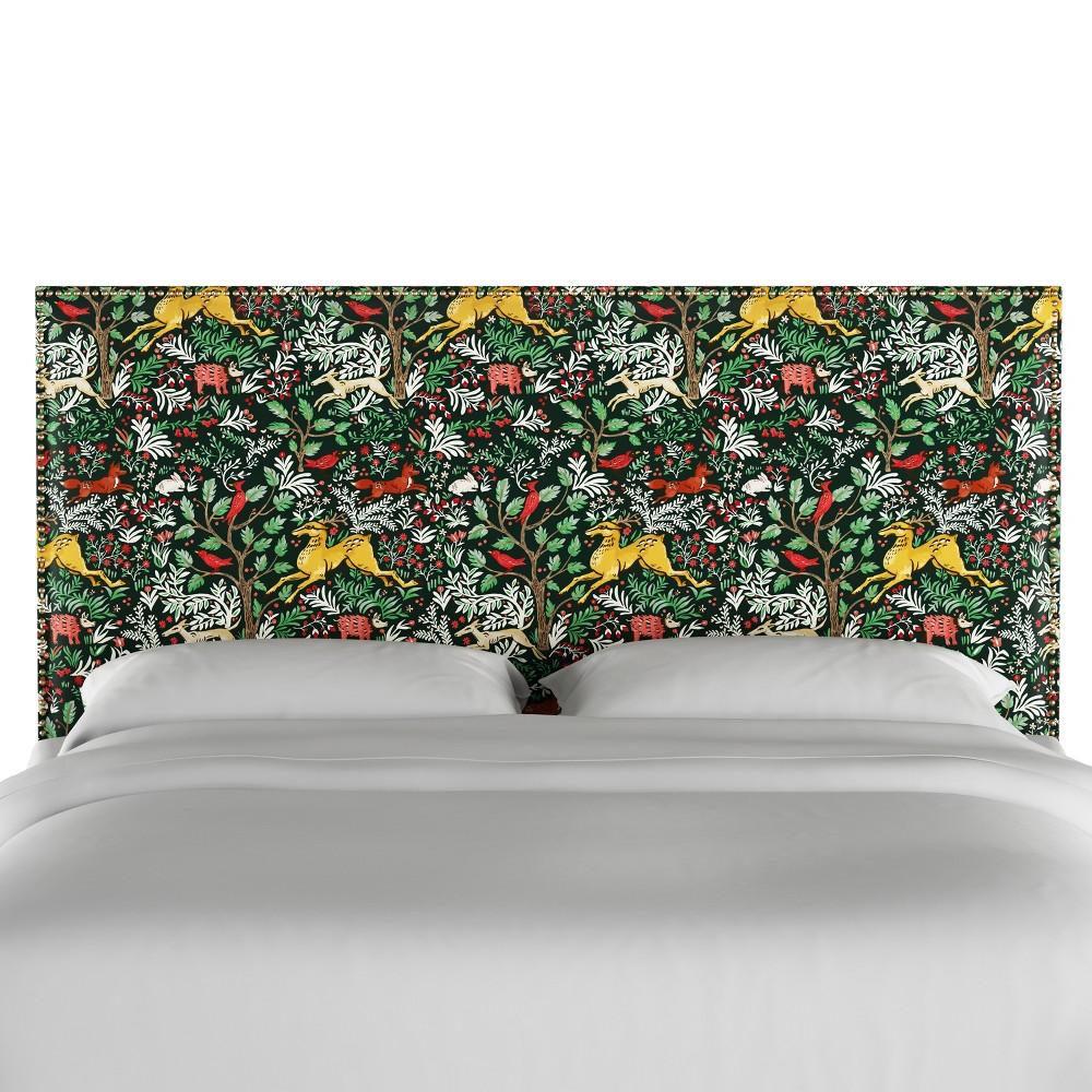 King Arcadia Nailbutton Patterned Headboard Frolic Evergreen Skyline Furniture