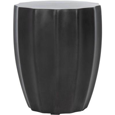 Jaslyn Indoor/Outdoor Modern Concrete Round Accent Table - Black - Safavieh