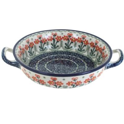 Blue Rose Polish Pottery Peach Posy Mini Casserole Dish with Handles