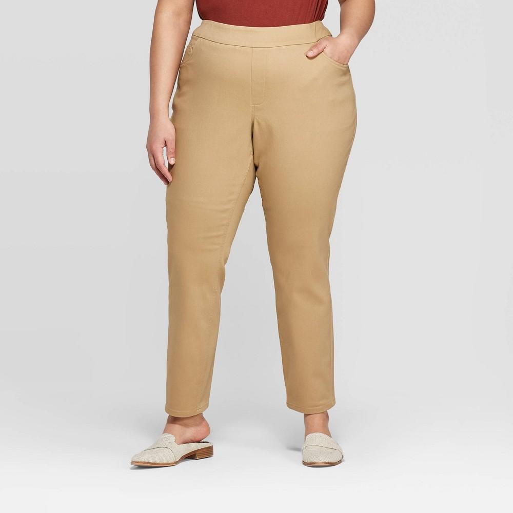 Women's Plus Size Pull On Skinny Chino Pants - Ava & Viv Brown 3X, Green