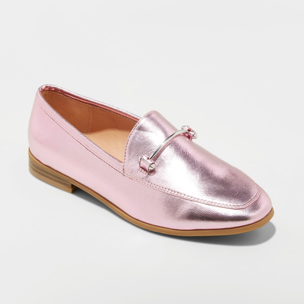 Women's Perry Wide Width Metallic Loafers - A New Day Pink 6W, Size: 6 Wide