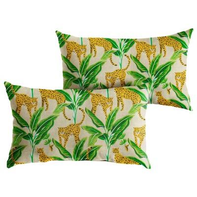 2pk Outdoor Throw Pillows Yellow/Green