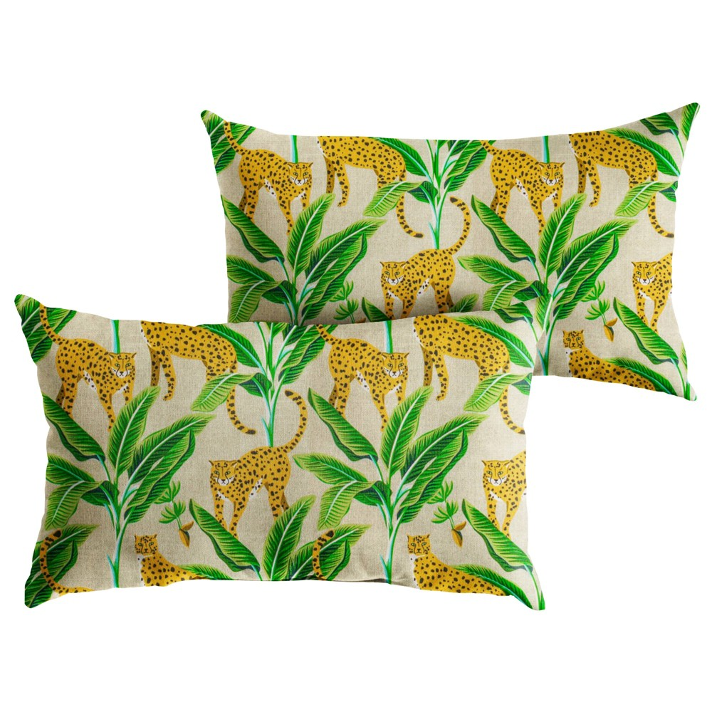 "Image of ""14"""" 2pk Outdoor Throw Pillows Yellow/Green"""