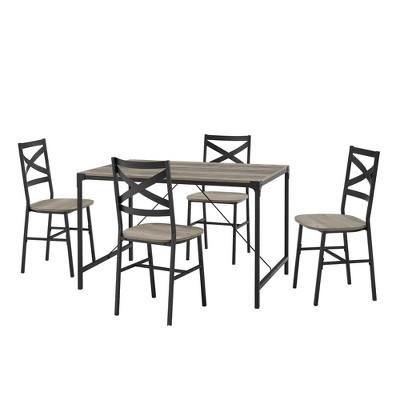 5pc Angle Iron Dining Set with Back Chairs Gray Wash - Saracina Home