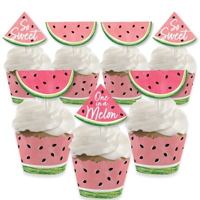 Big Dot of Happiness Sweet Watermelon - Cupcake Decoration - Fruit Party Cupcake Wrappers and Treat Picks Kit - Set of 24