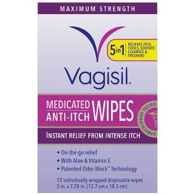 Vagisil Maximum Strength Anti-Itch Medicated Feminine Intimate Wipes - 12ct