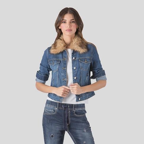 Women S Denim Jacket With Detachable Faux Fur Colla Target