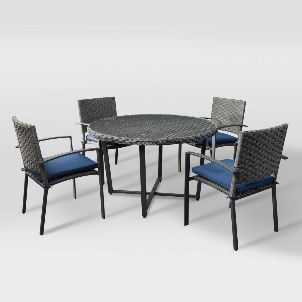 Parkview 5pc Patio Dining Set - Charcoal Gray/Navy (Blue) - CorLiving