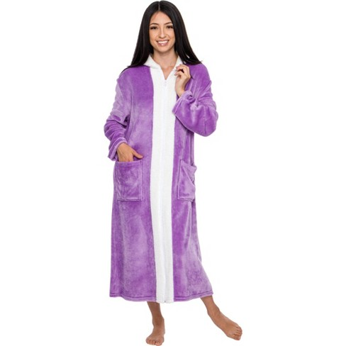 Silver Lilly Women's Full Length sherpa Zip Up Bathrobe, - image 1 of 4