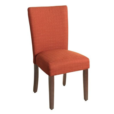 Fabric Upholstered Wooden Parson Dining Chair with Splayed Back - Benzara
