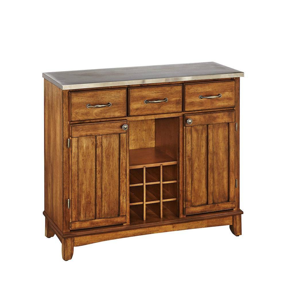 Sideboard Buffet Servers with Stainless Top Oak Brown - Home Styles