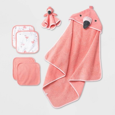 Baby Girls' Flamingo Bath Gift Set - Cloud Island™ Coral