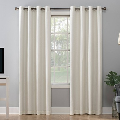 "84""x52"" Kenji Woven Scalloped Design Total Blackout Grommet Curtain Panel Cream - Sun Zero"