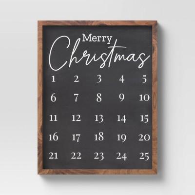 "14"" x 18"" Christmas Calendar Framed Wall Print Vintage Black - Threshold™"