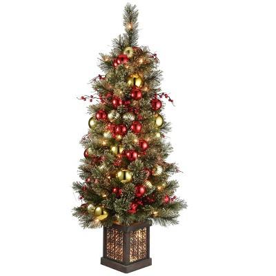 4ft National Tree Company Dakota Pine Entrance Tree in Brown Rectangular Pre-lit Pot Red Berries Clear Lights