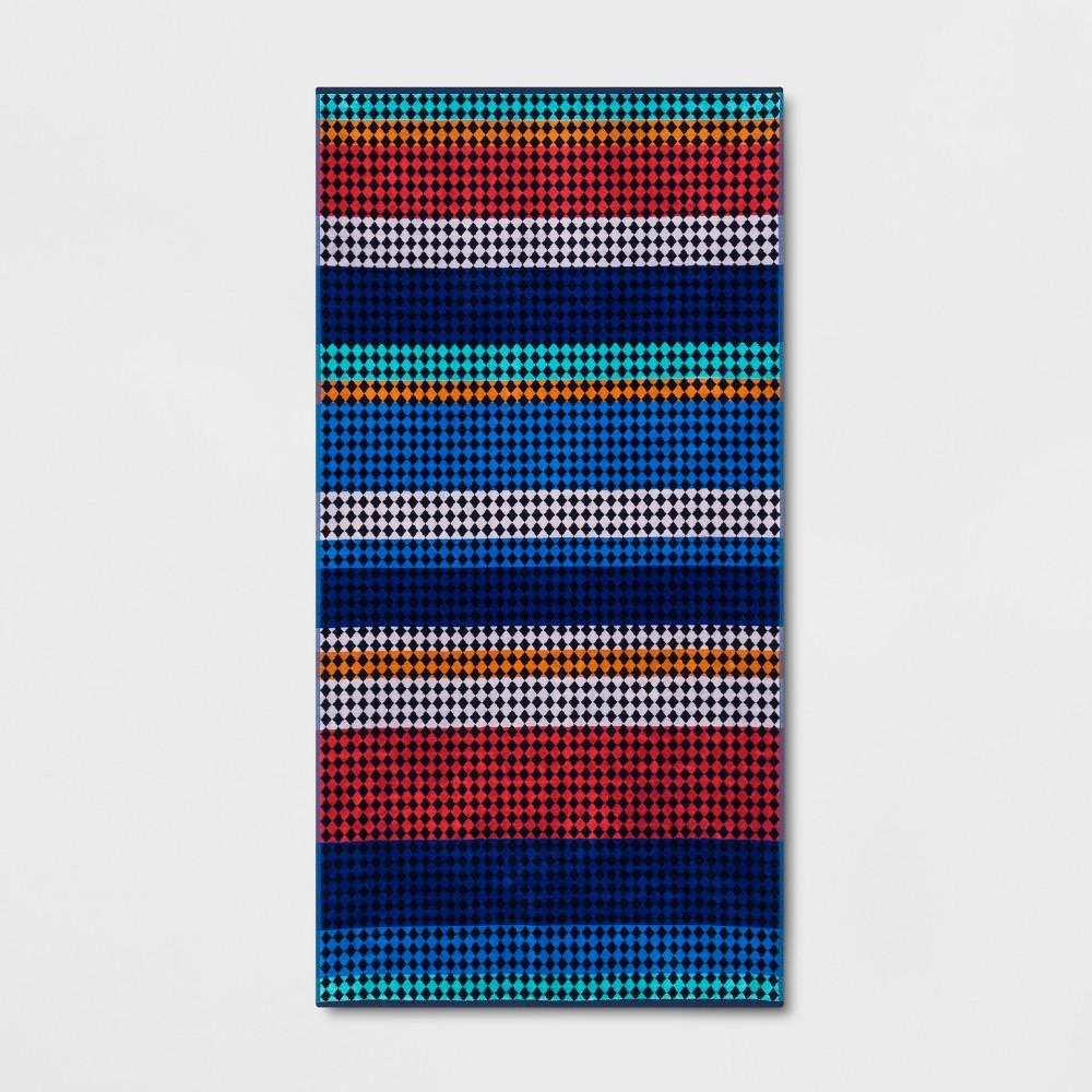 Image of XL Checkered Stripe Beach Towel - Sun Squad, Mulicolor