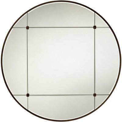 "Noble Park Drucilla Antique Light Brown 32"" Round Framed Wall Mirror"
