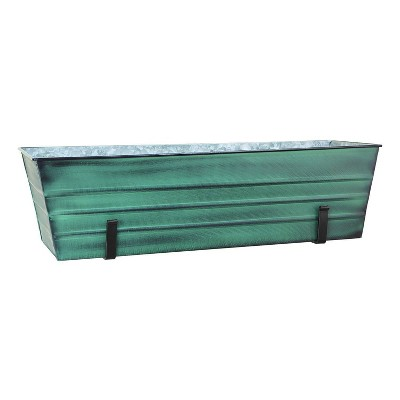 """35.25"""" Large Galvanized Steel Flower Box with Wall Brackets Green - ACHLA Designs"""