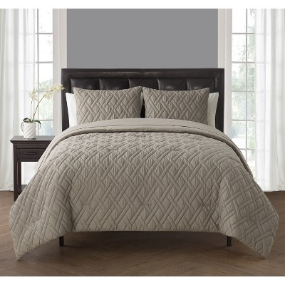 Twin 5pc Lattice Embossed Bed in a Bag Comforter Set Taupe - VCNY HOME