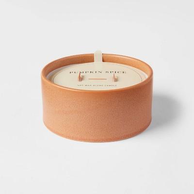 12oz Ceramic Wooden Wick Pumpkin Spice Candle - Threshold™
