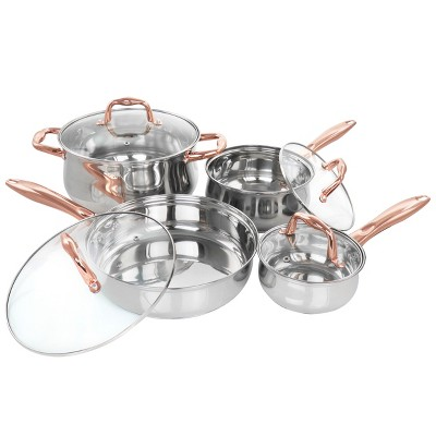 Gibson Home Bransonville 8 Piece Stainless Steel Cookware Set in Chrome and Bronze
