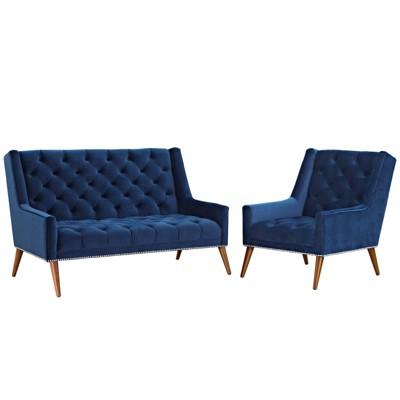 Set of 2 Peruse Living Room Set Velvet Navy - Modway