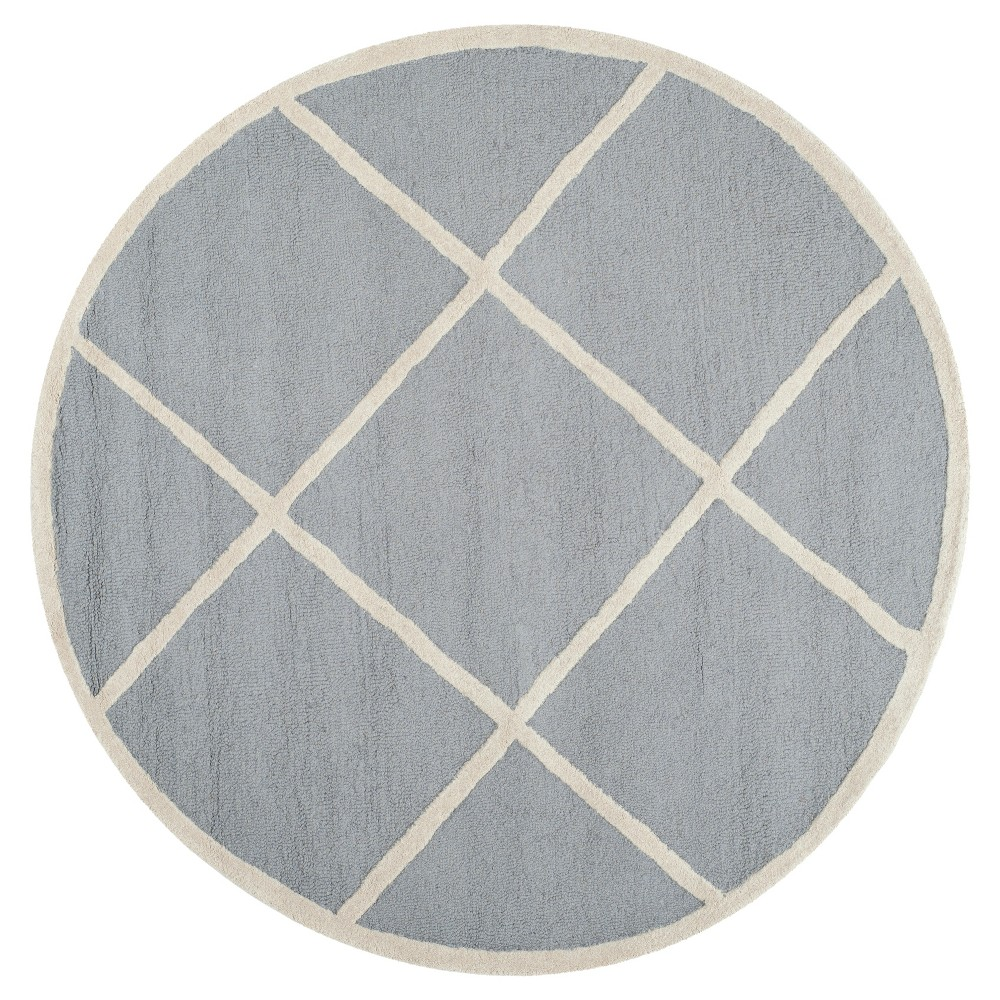 4' Geometric Accent Rug Silver/Ivory - Safavieh