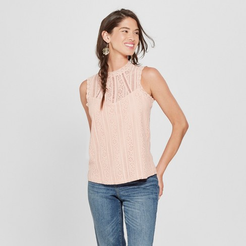 Women's Lace Mock Neck Top - Lily Star (Juniors') Blush - image 1 of 2