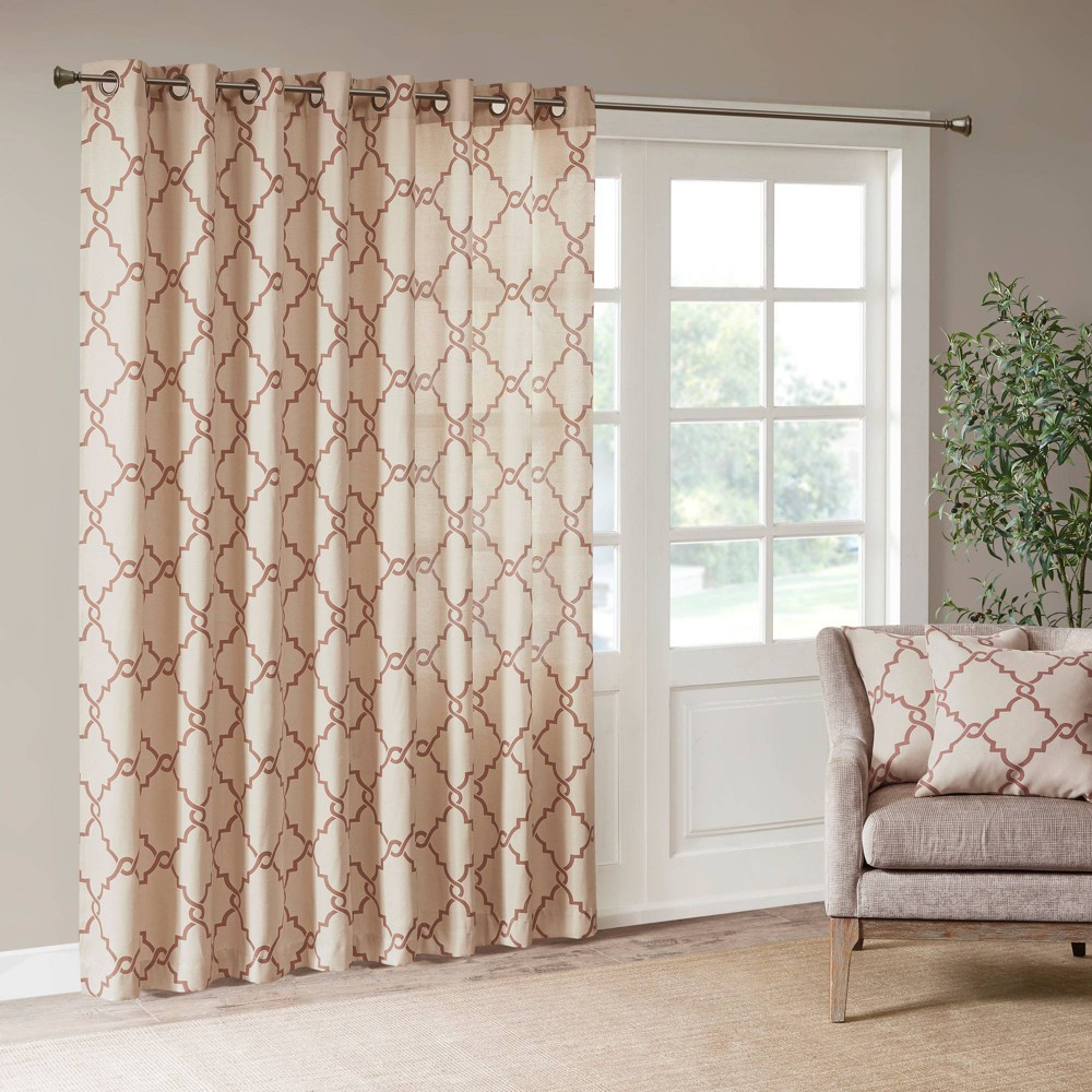 "Image of ""100""""x84"""" Sereno Fretwork Print Blackout Extra Wide Curtain Panel Beige/Spice"""