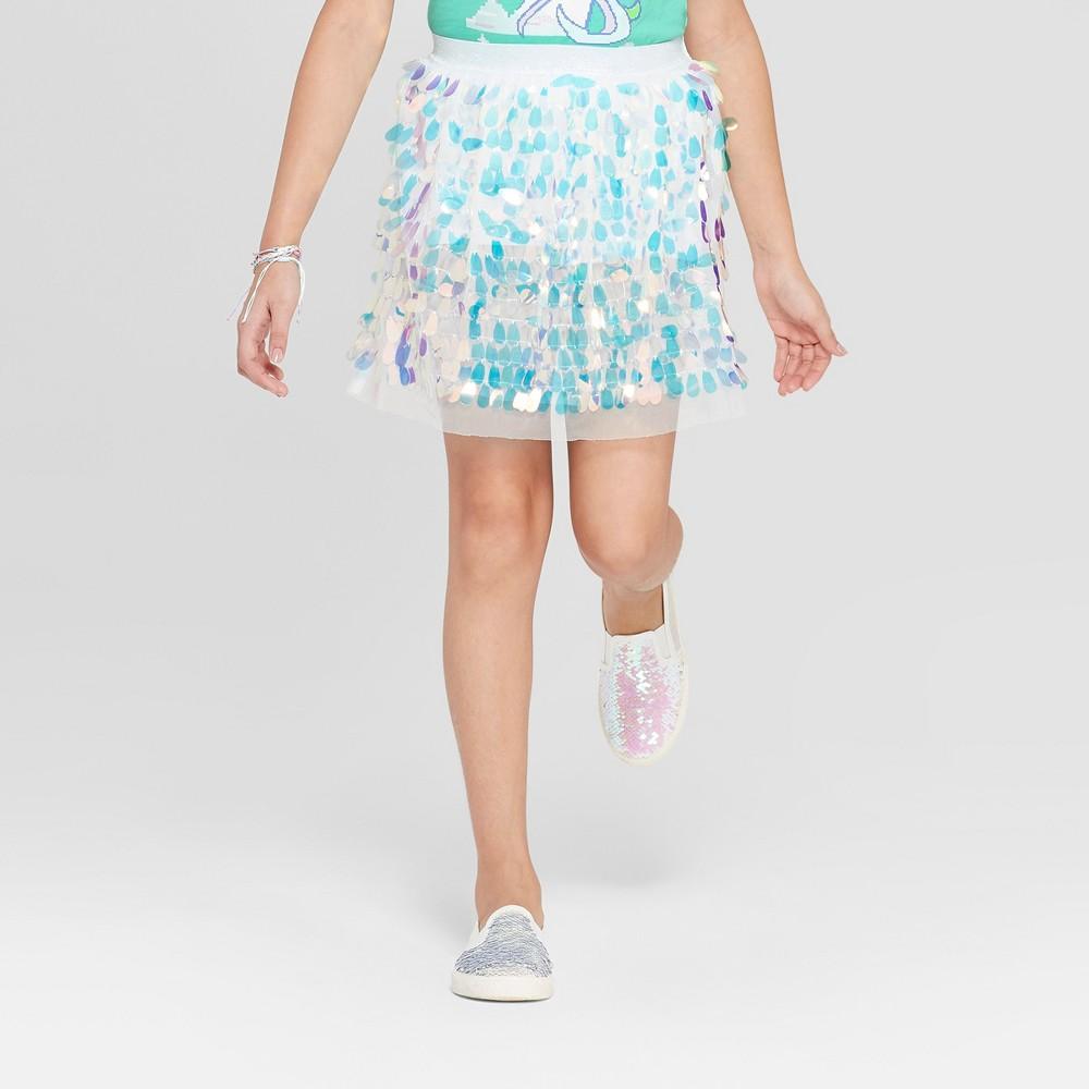 Image of Girls' Iridescent Sequin Skirt - Cat & Jack Cream L, Girl's, Size: Large, White