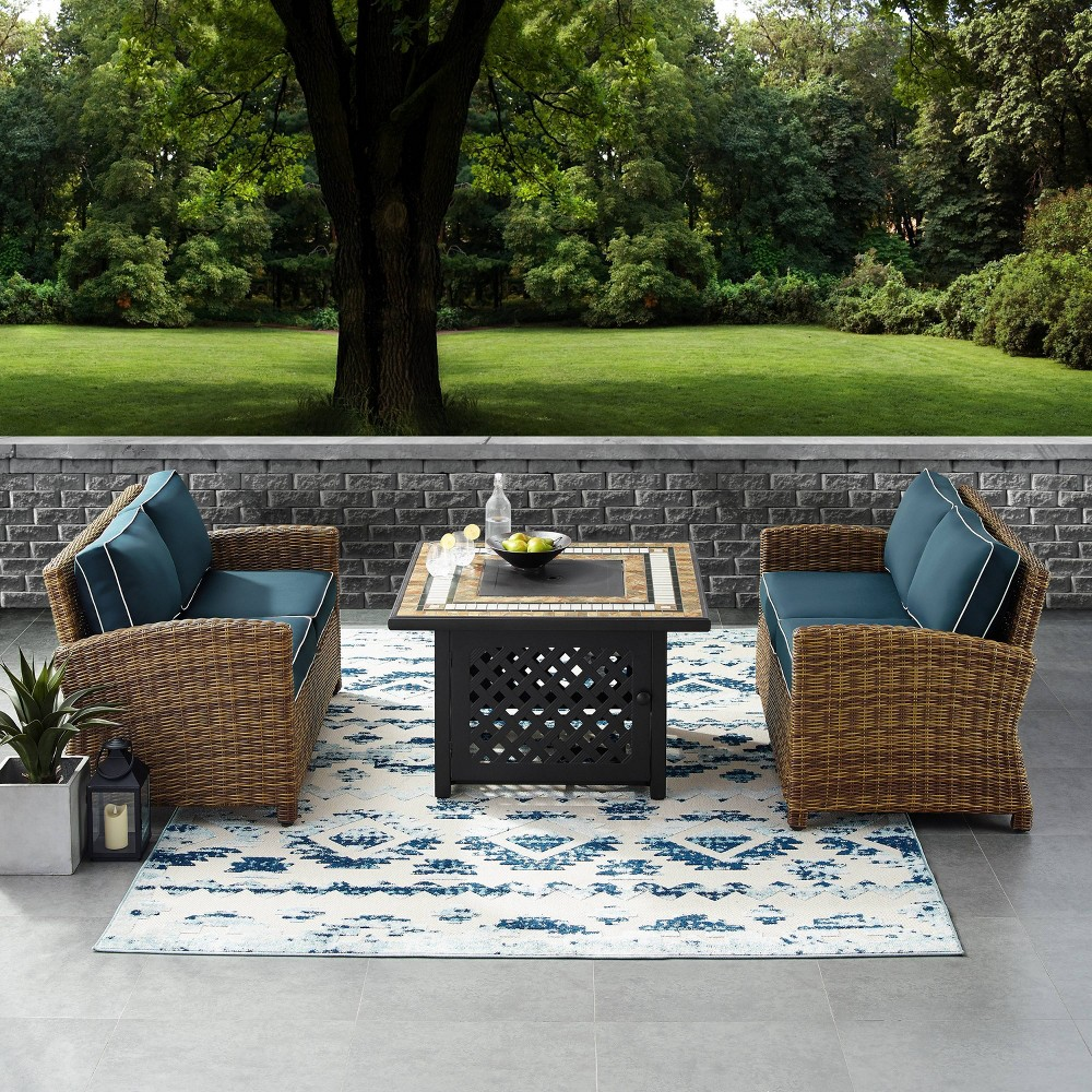3pc Bradenton Outdoor Wicker Seating Set with Navy Cushions Brown - Crosley