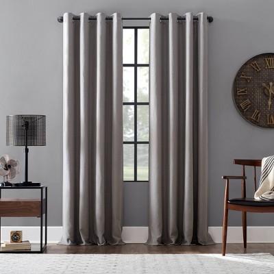 "84""x52"" Linen Blend Blackout Grommet Top Curtain Gray - Archaeo"