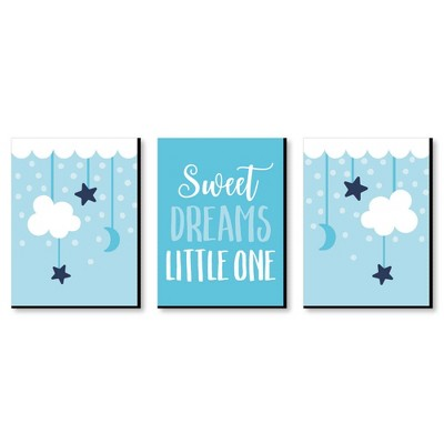 Big Dot of Happiness Baby Boy - Blue Nursery Wall Art and Kids Room Decorations - Gift Ideas - 7.5 x 10 inches - Set of 3 Prints