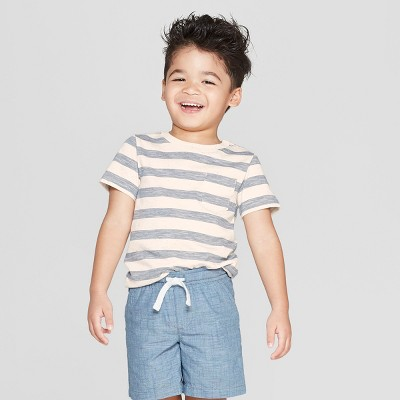 Toddler Boys' Short Sleeve Nep Striped Pocket T-Shirt - Cat & Jack™ Cream/Gray 3T