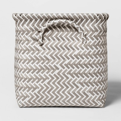 "11"" PP Woven Cube Storage Bin White/Gray - Room Essentials™"