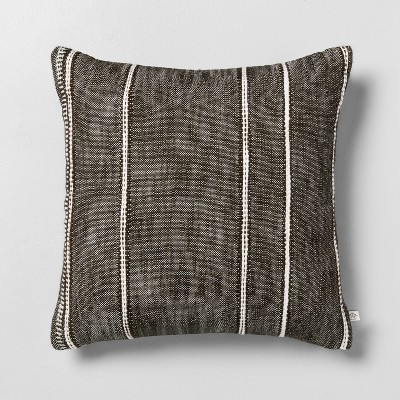 "18"" x 18"" Stripe Pattern Throw Pillow Dark Green - Hearth & Hand™ with Magnolia"